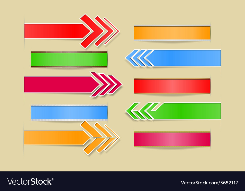 Set of arrows and banners with paper cuts and vector | Price: 1 Credit (USD $1)