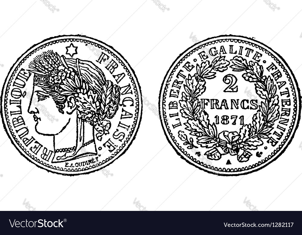 Silver francs coin engraving vector | Price: 1 Credit (USD $1)
