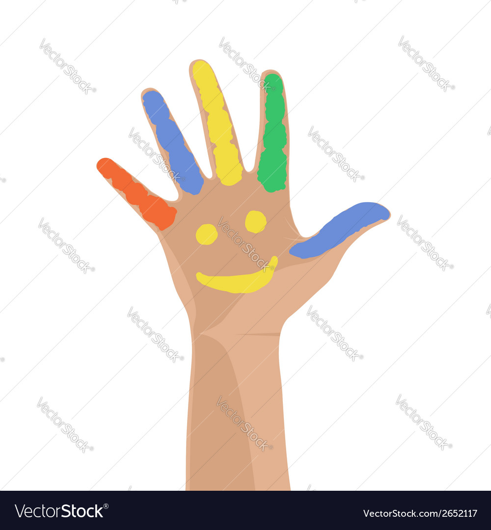 Smiling colorful hand raised up vector | Price: 1 Credit (USD $1)