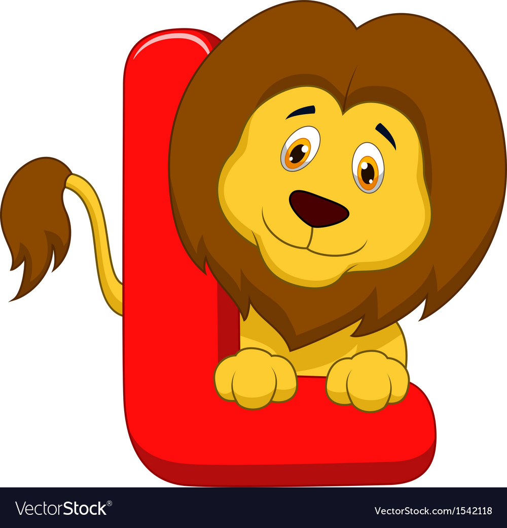 Alphabet l with lion cartoon vector | Price: 1 Credit (USD $1)