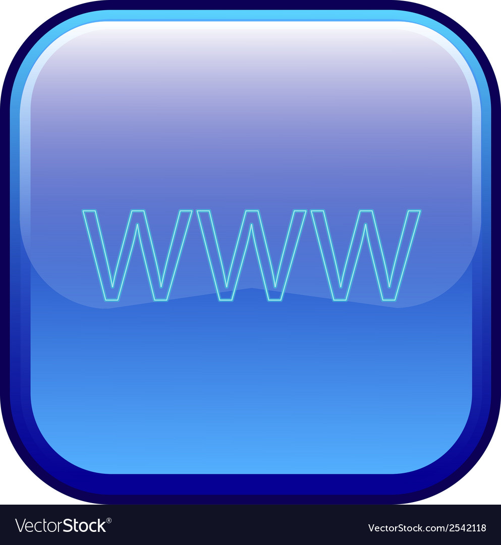 Big blue button labeled www vector | Price: 1 Credit (USD $1)