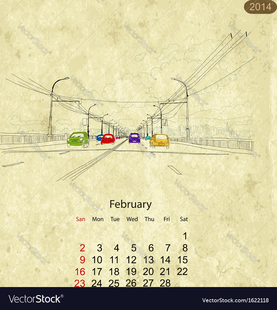 Calendar 2014 february streets of the city sketch vector | Price: 1 Credit (USD $1)