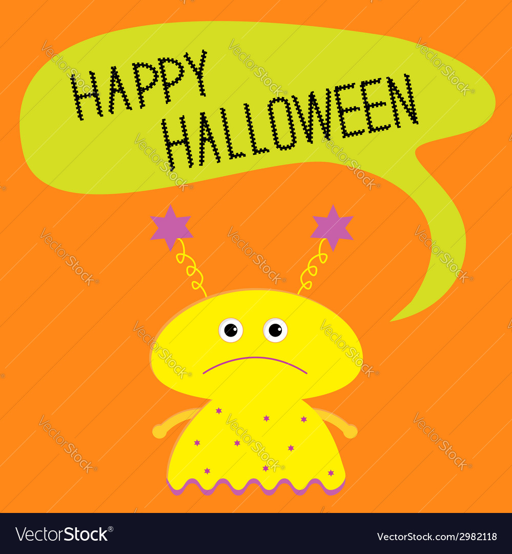 Cute yellow monster with speech text bubble vector | Price: 1 Credit (USD $1)