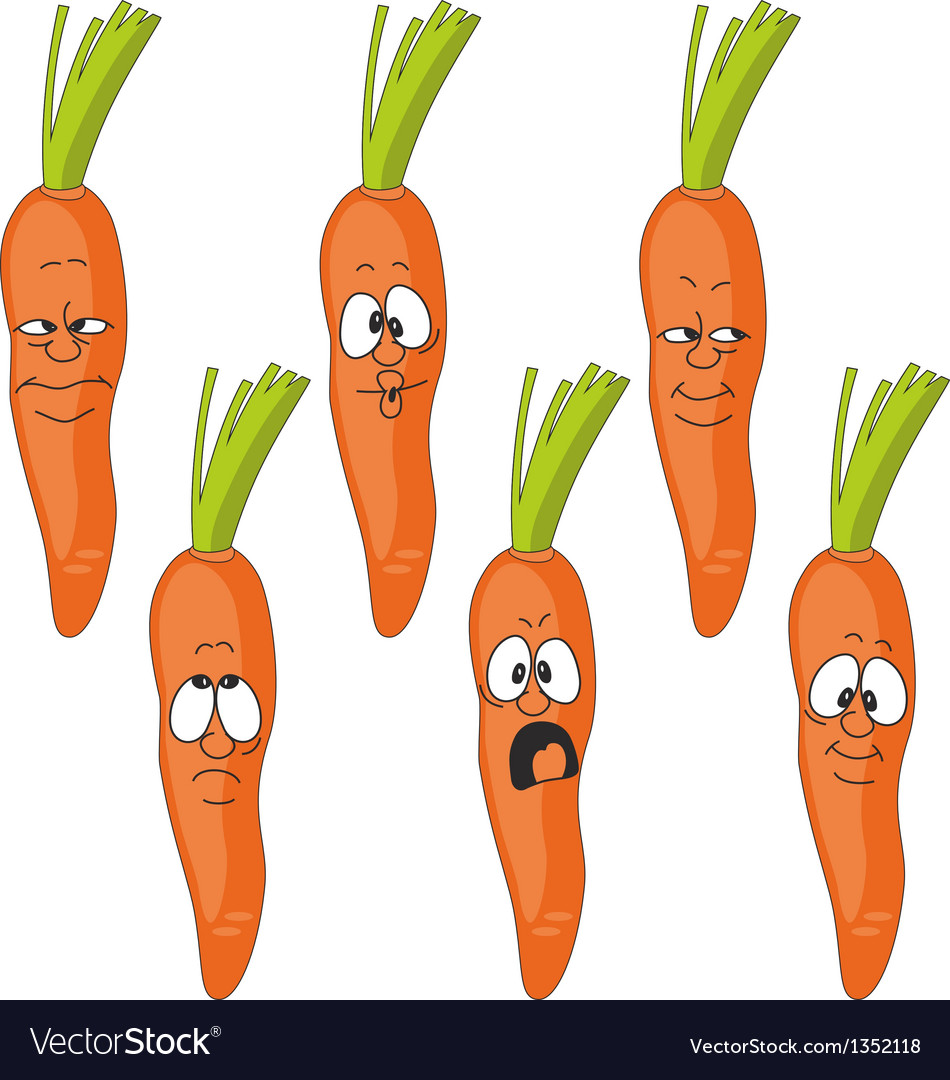 Emotion cartoon carrot vegetables set 009 vector | Price: 1 Credit (USD $1)