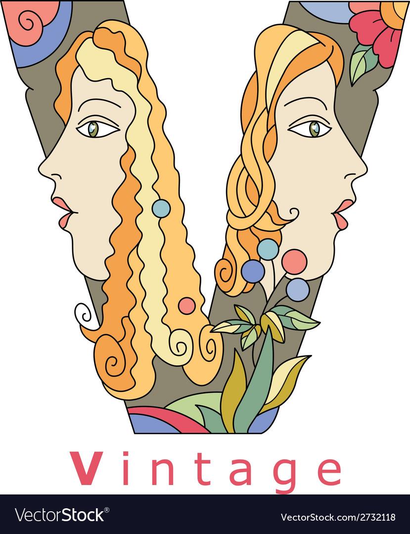 Letter v vintage vector | Price: 1 Credit (USD $1)
