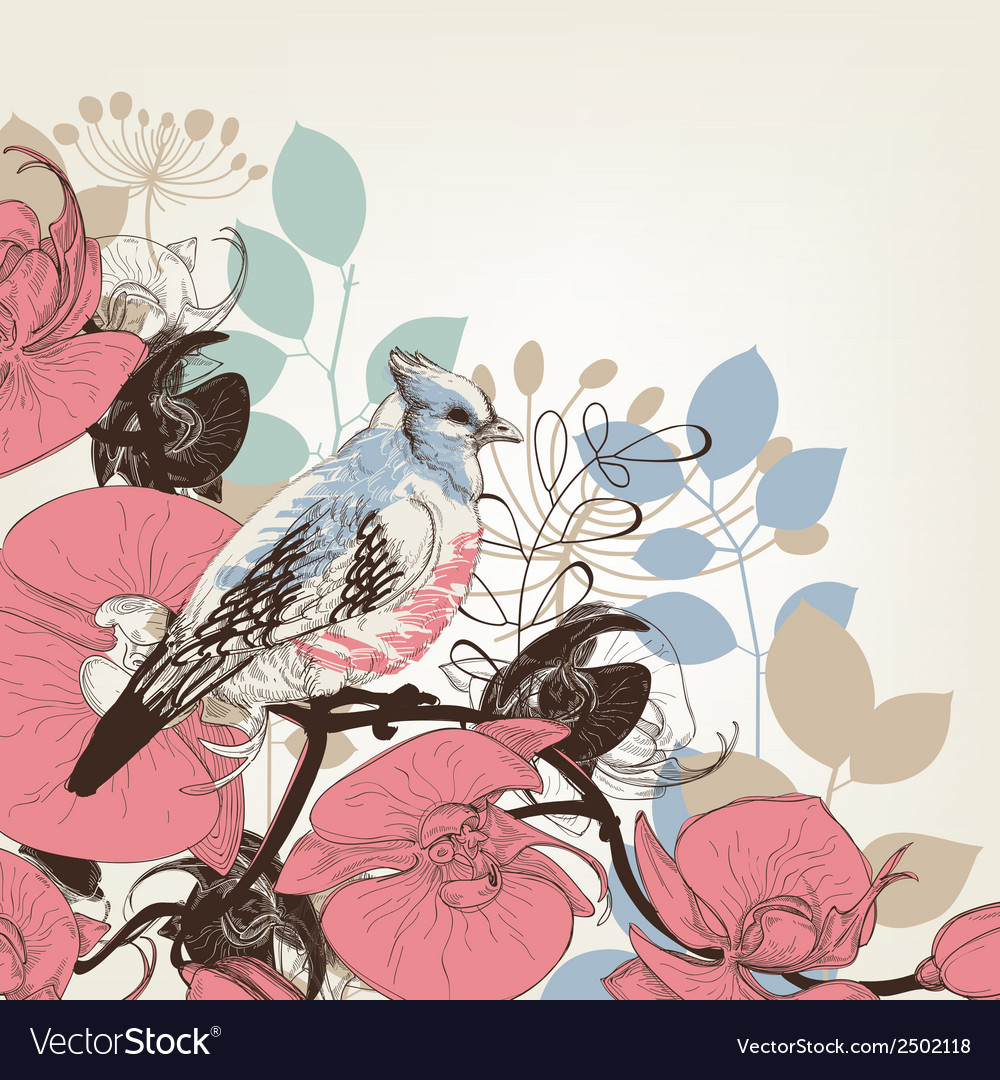 Orchid flowers and bird retro background vector | Price: 1 Credit (USD $1)