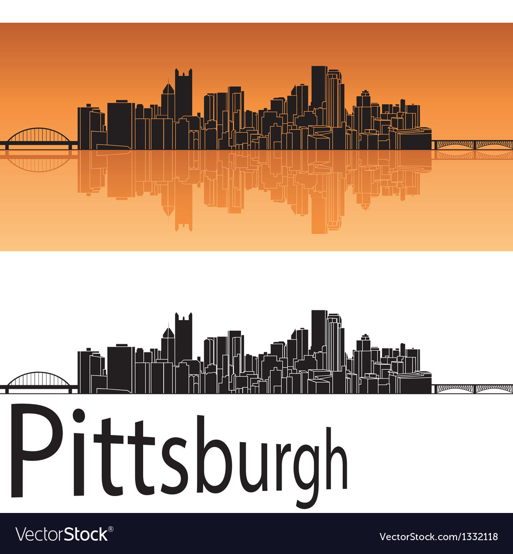 Pittsburgh skyline in orange background vector | Price: 1 Credit (USD $1)