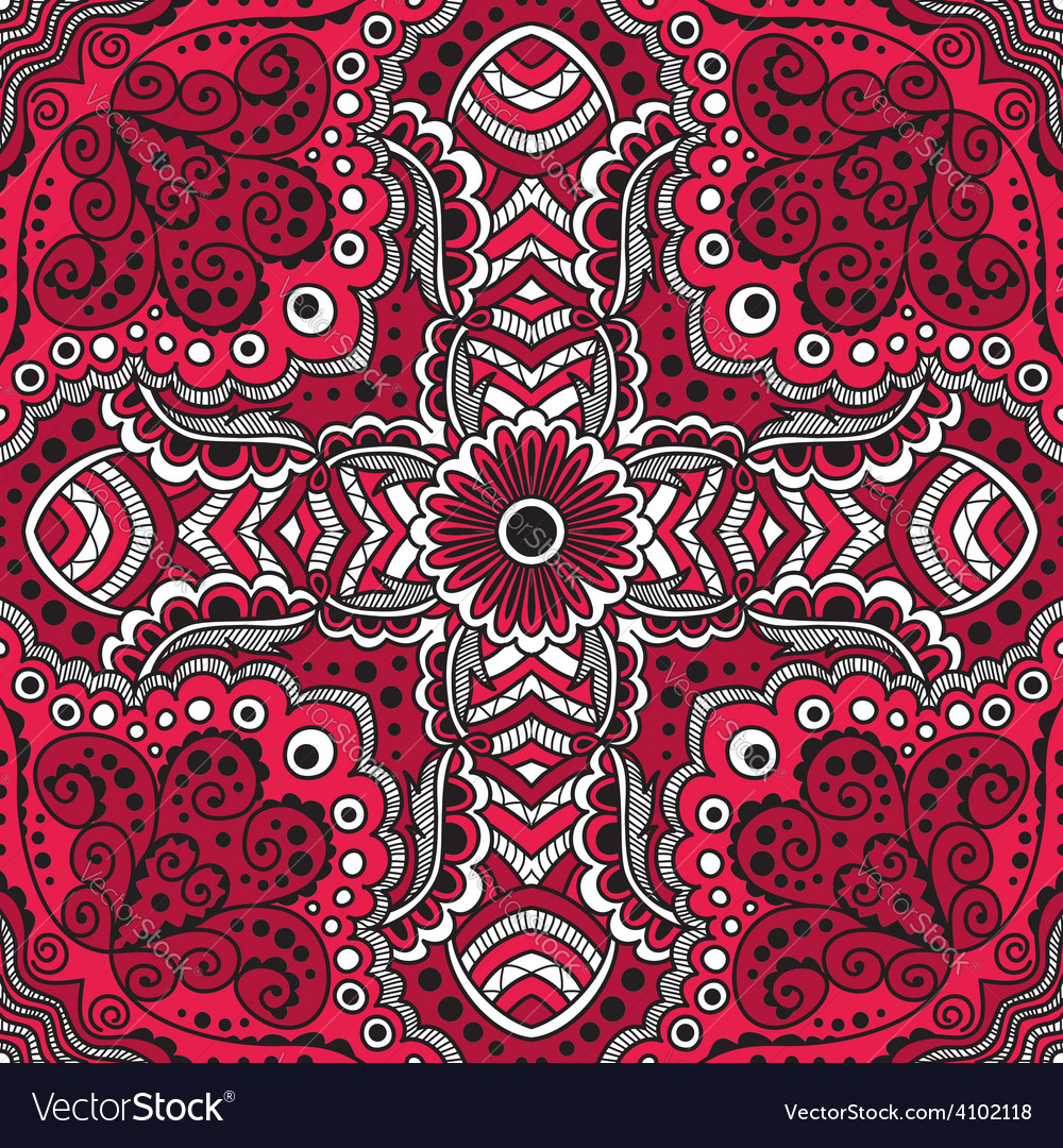 Seamless red pattern of spirals swirls vector | Price: 1 Credit (USD $1)