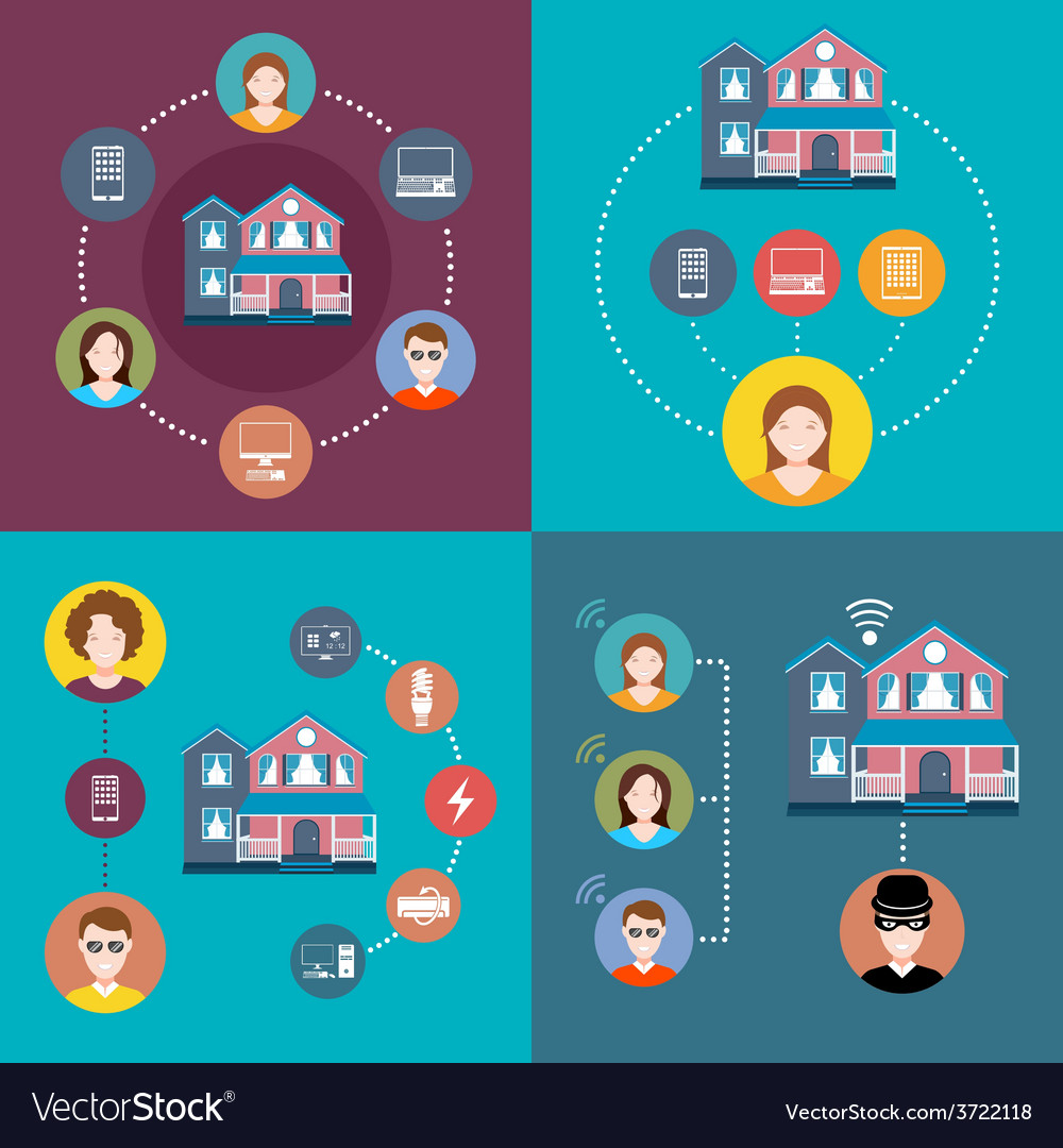 Set elements of infographics smart home vector | Price: 1 Credit (USD $1)
