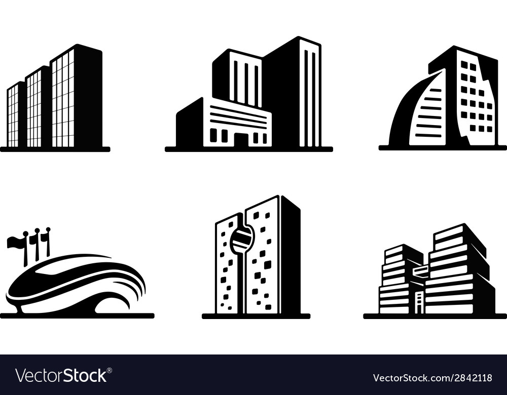 Set of black and white building icons vector | Price: 1 Credit (USD $1)