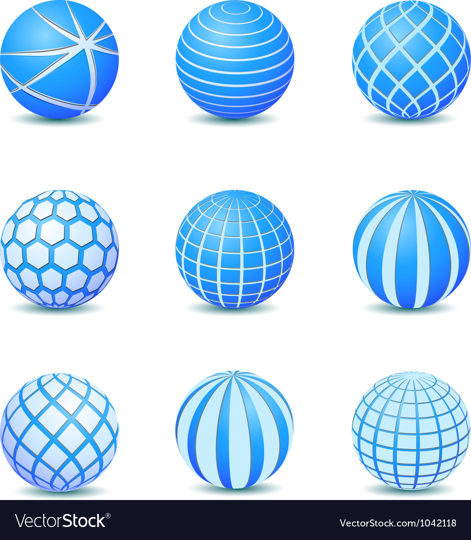 Set of blue abstract round stripe ball icon vector | Price: 1 Credit (USD $1)