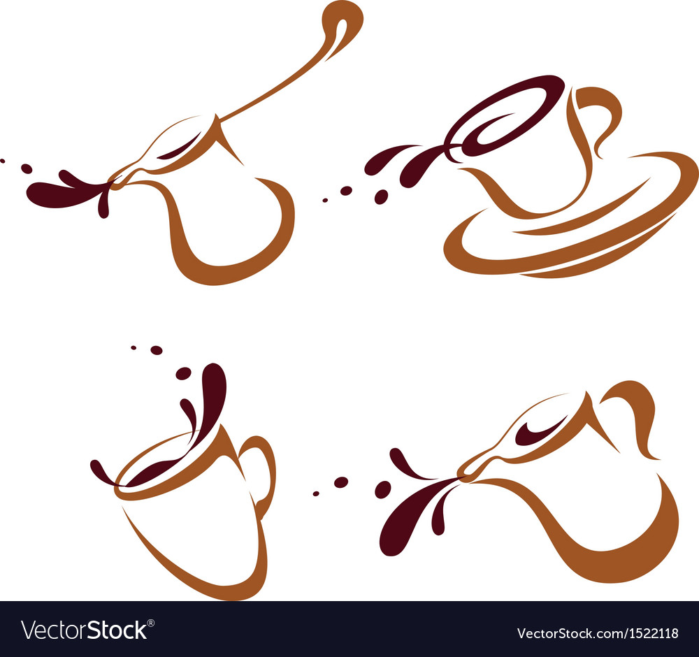 Set of coffee cups icons vector | Price: 1 Credit (USD $1)