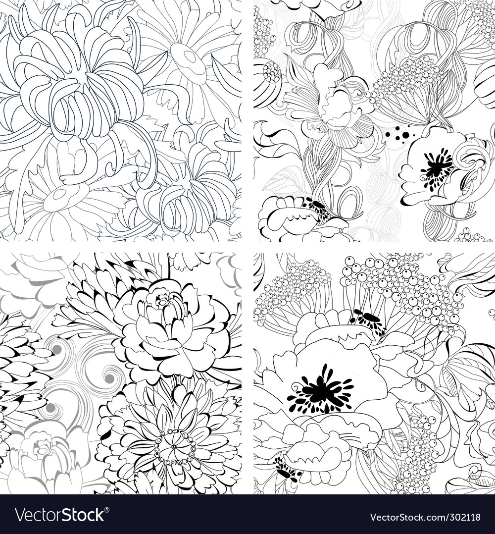 Set of monochrome seamless wallpaper vector | Price: 1 Credit (USD $1)