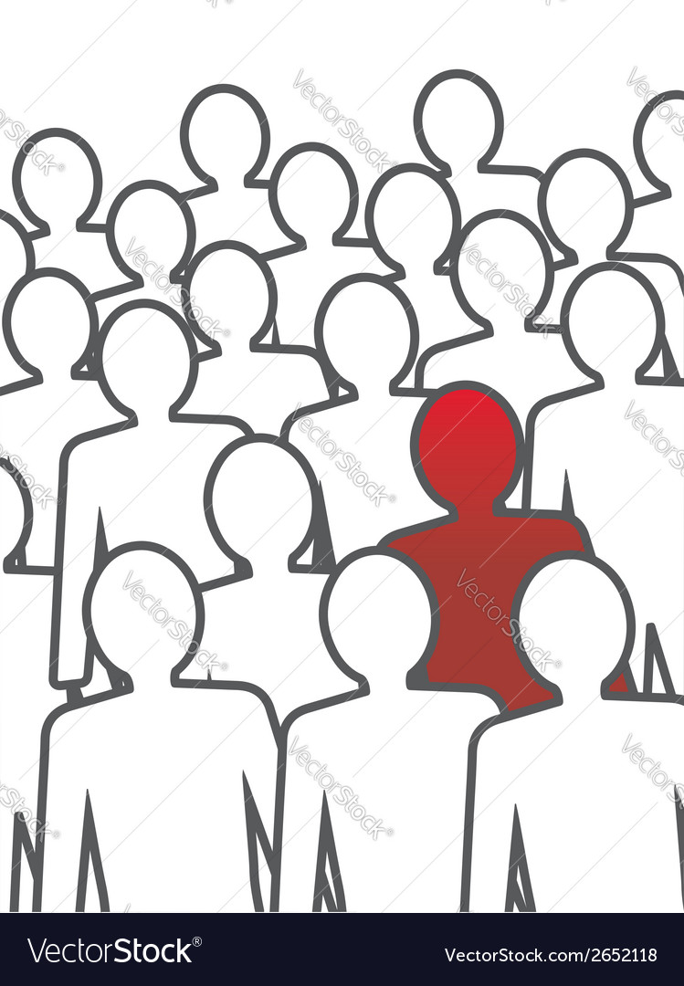 Unusual person in the crowd concept vector | Price: 1 Credit (USD $1)