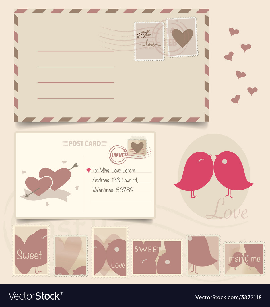 Vintage postcard background and postage stamps - vector   Price: 1 Credit (USD $1)