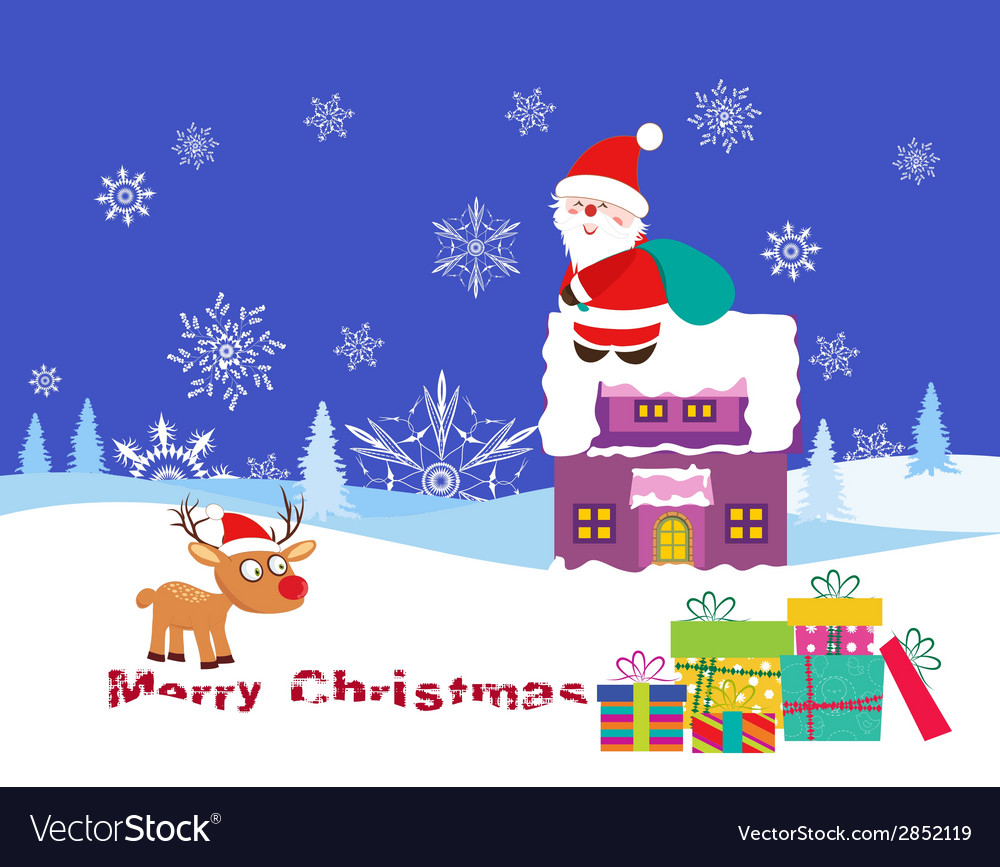 Christmas card with santa claus on christmas house vector | Price: 1 Credit (USD $1)