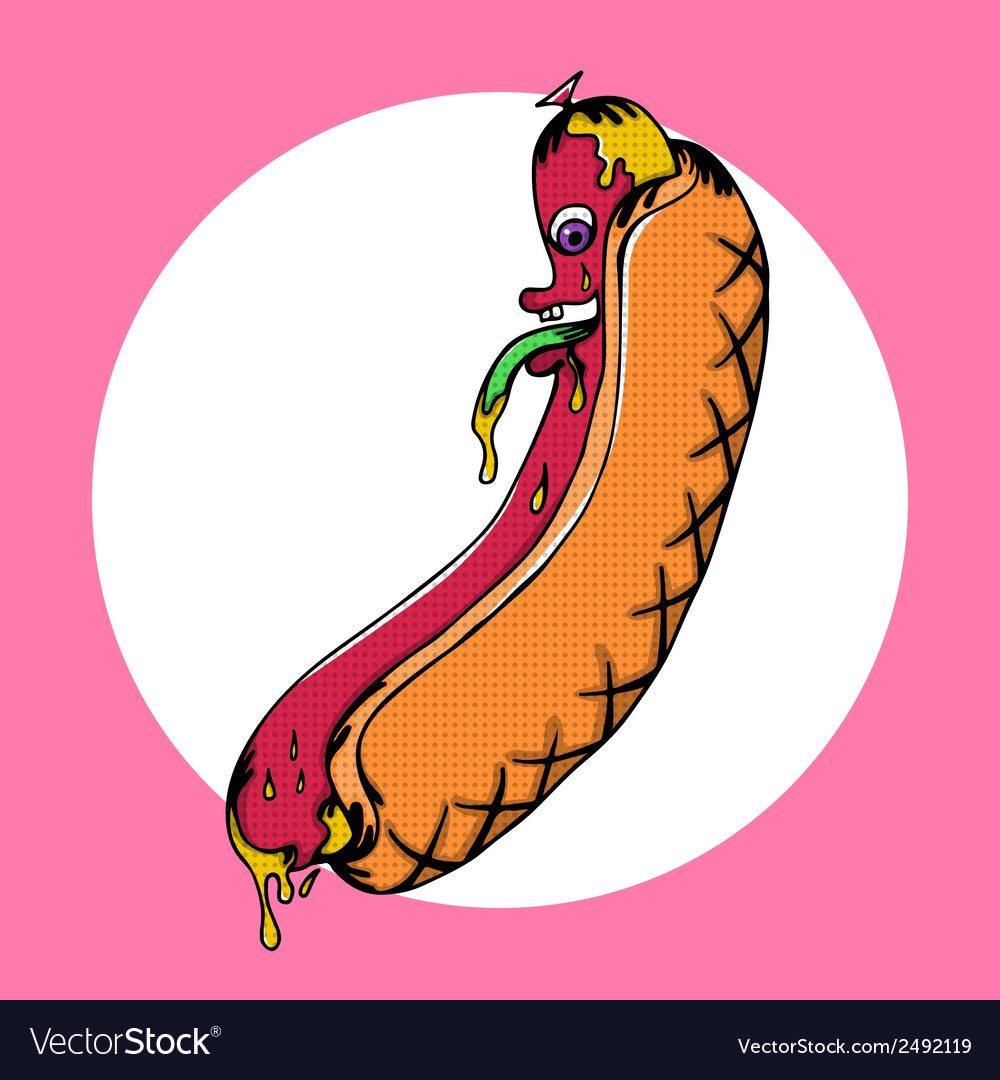 Disgusting hot dog monster with mustard vector | Price: 1 Credit (USD $1)