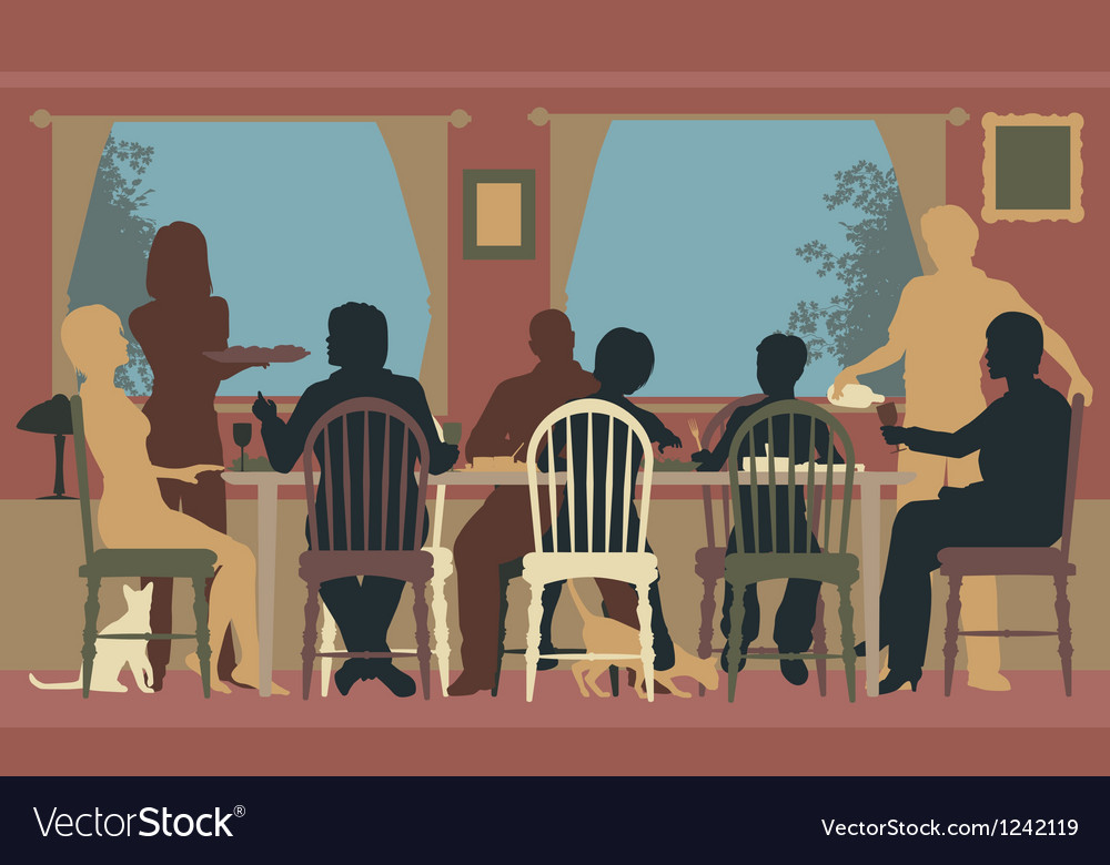 Family dining vector | Price: 1 Credit (USD $1)