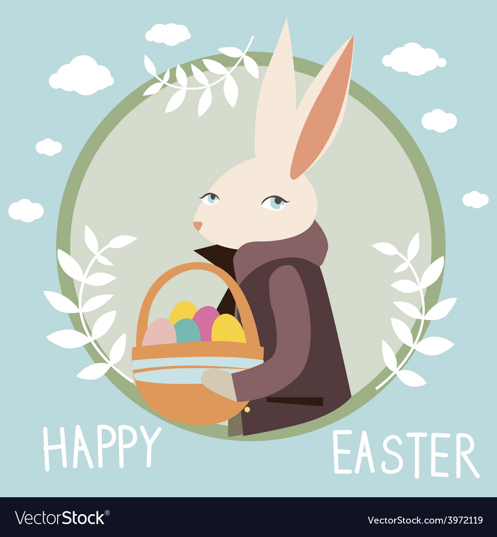 Happy easter design with rabbit vector | Price: 1 Credit (USD $1)