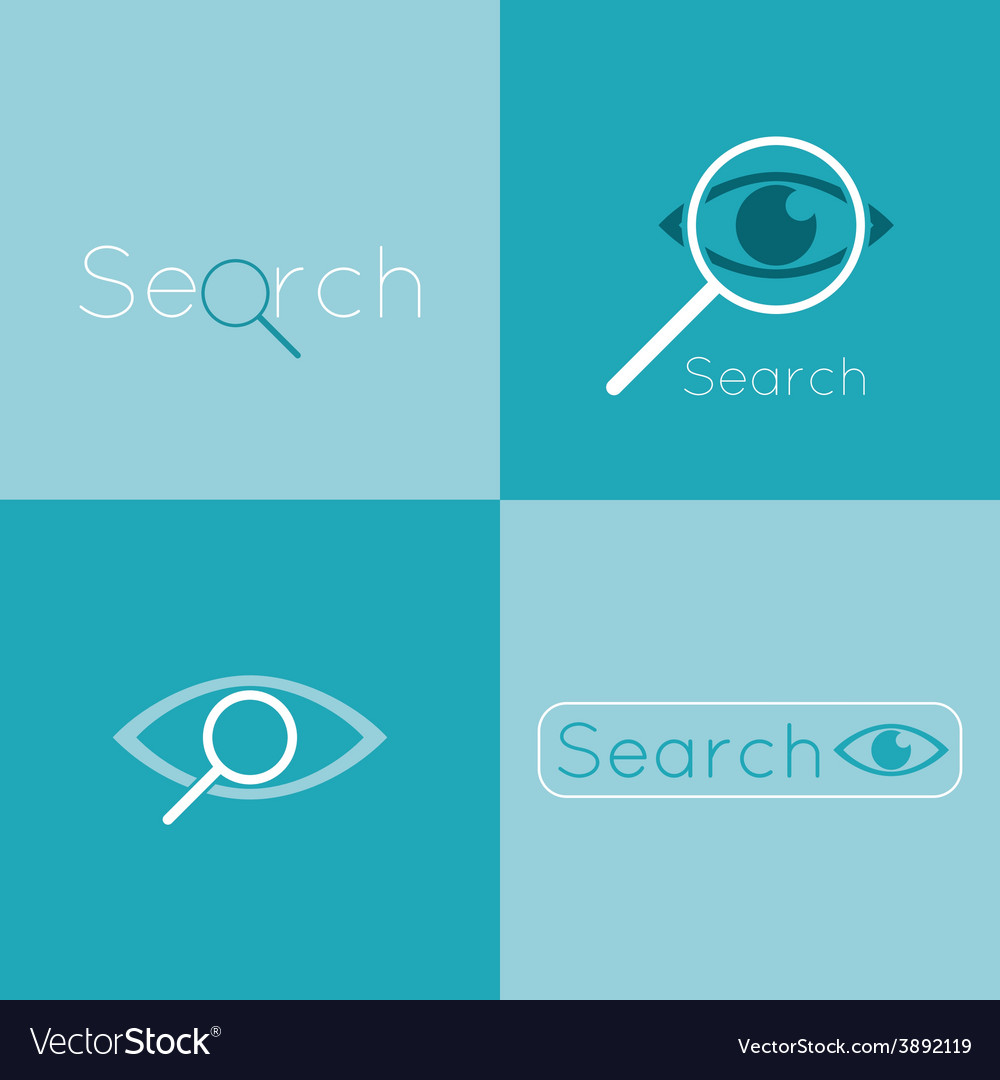 Icon eyes with a magnifying glass logo search vector | Price: 1 Credit (USD $1)