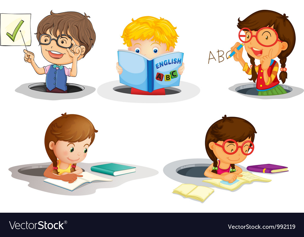Kids studying vector   Price: 1 Credit (USD $1)