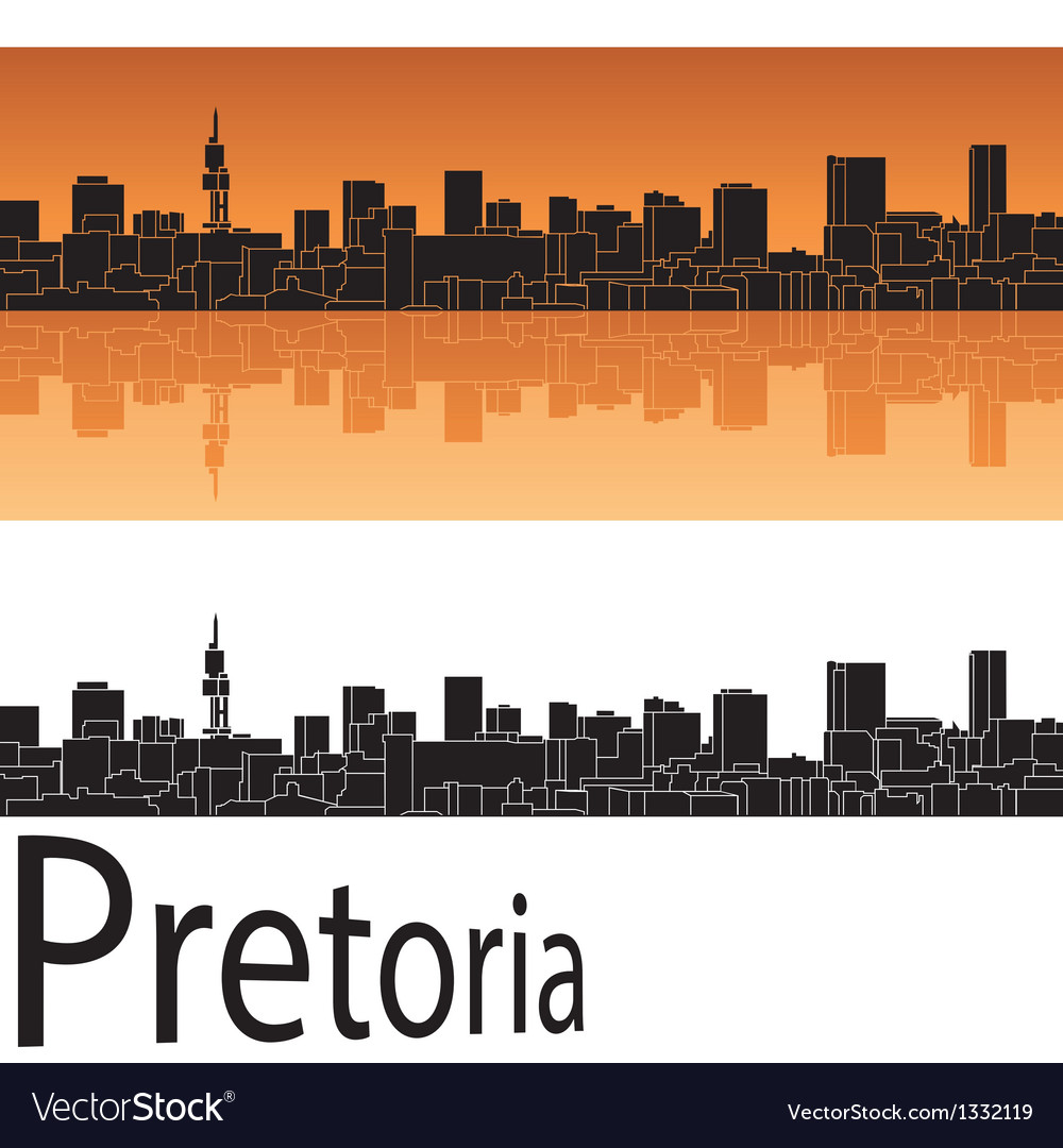 Pretoria skyline in orange background vector | Price: 1 Credit (USD $1)