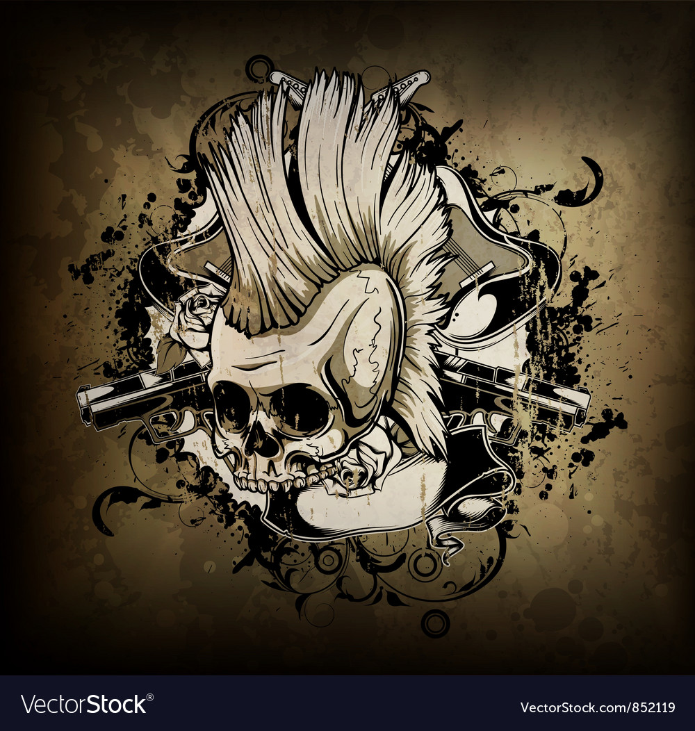 Skull with grunge vector | Price: 1 Credit (USD $1)