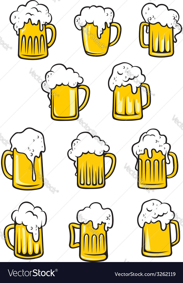 Tankards of beer vector | Price: 1 Credit (USD $1)