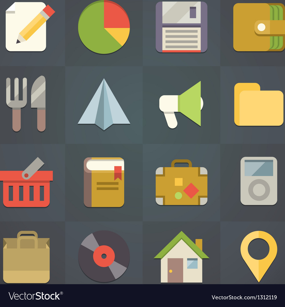 Universal flat icons for applications set 4 vector | Price: 1 Credit (USD $1)