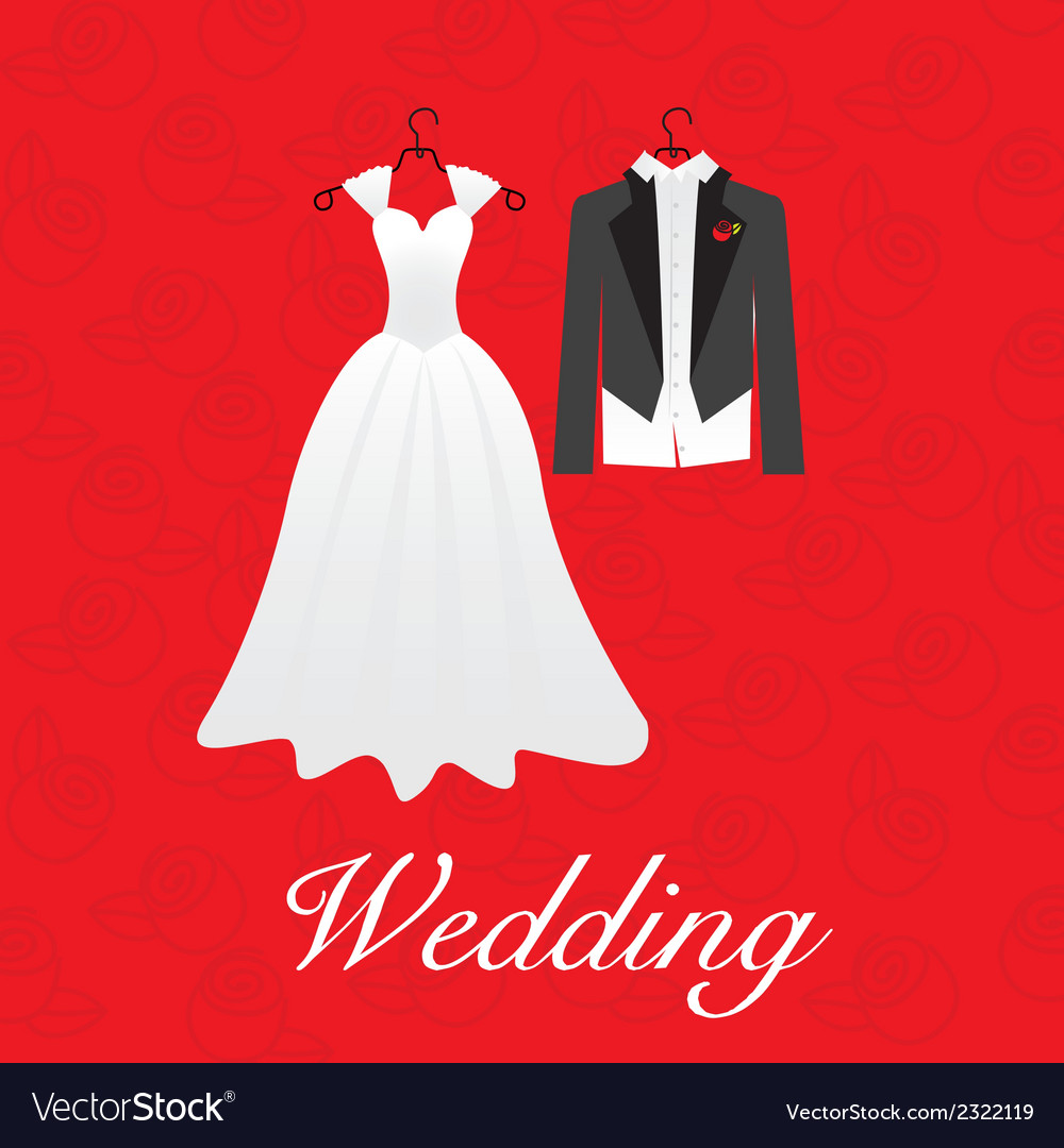Wedding card wedding dresses vector | Price: 1 Credit (USD $1)