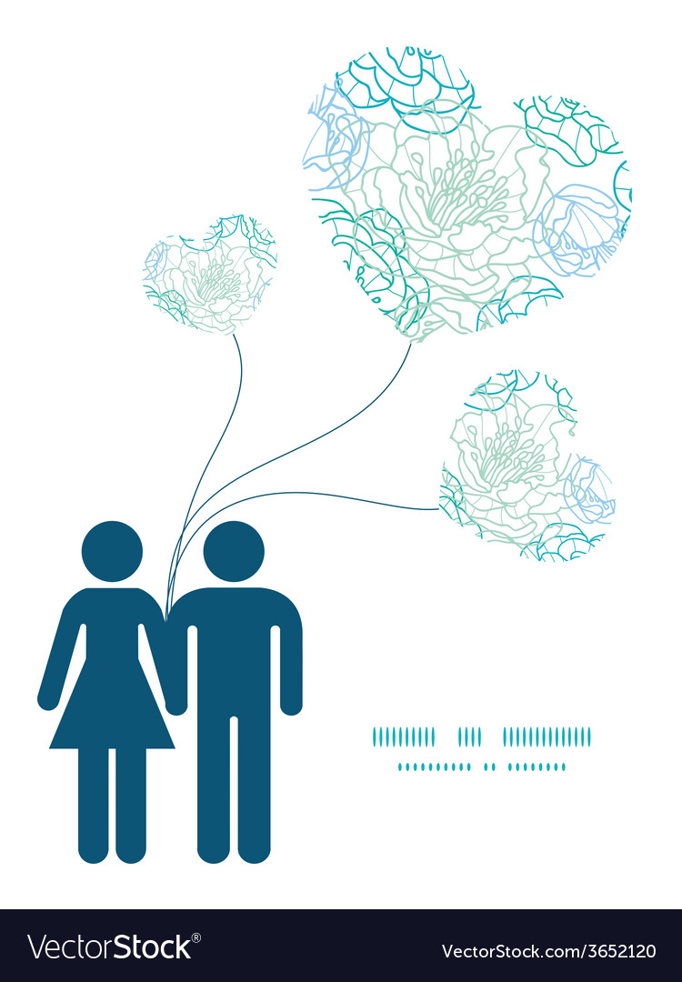 Blue line art flowers couple in love silhouettes vector | Price: 1 Credit (USD $1)