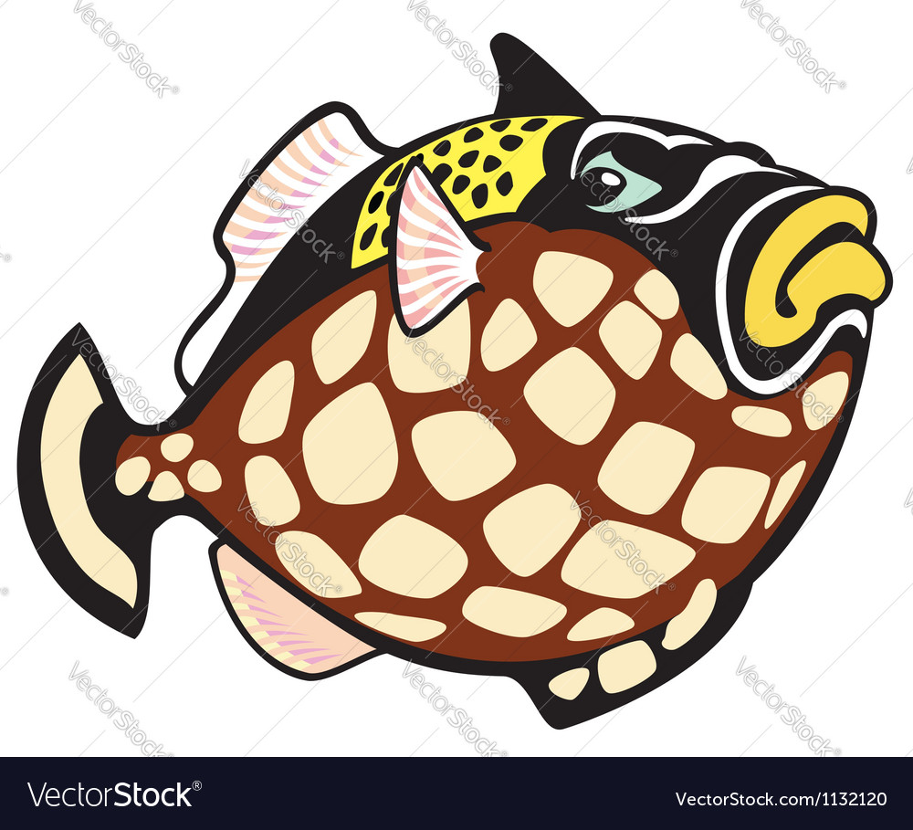Cartoon clown trigger fish vector | Price: 1 Credit (USD $1)