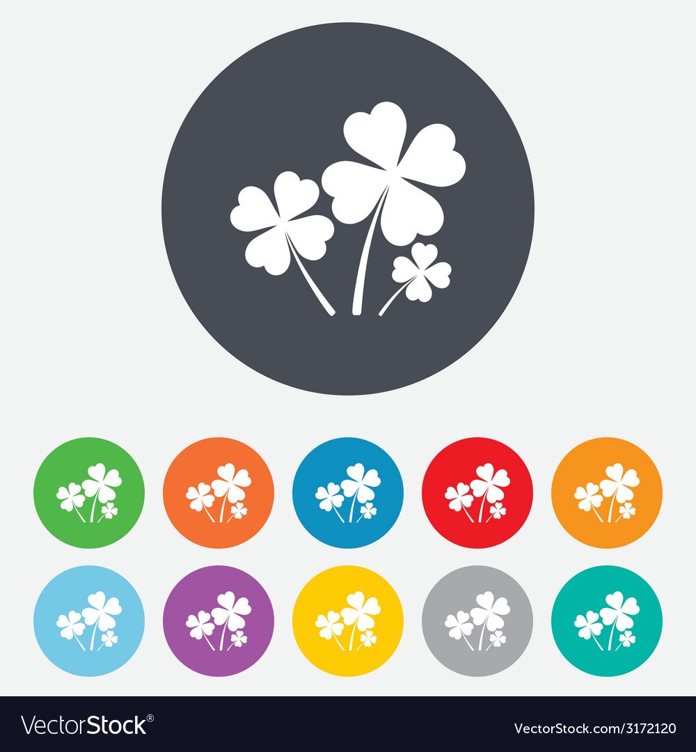 Clovers with four leaves sign st patrick symbol vector | Price: 1 Credit (USD $1)