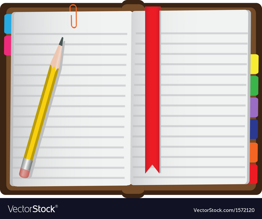 Diary on a white background vector | Price: 1 Credit (USD $1)