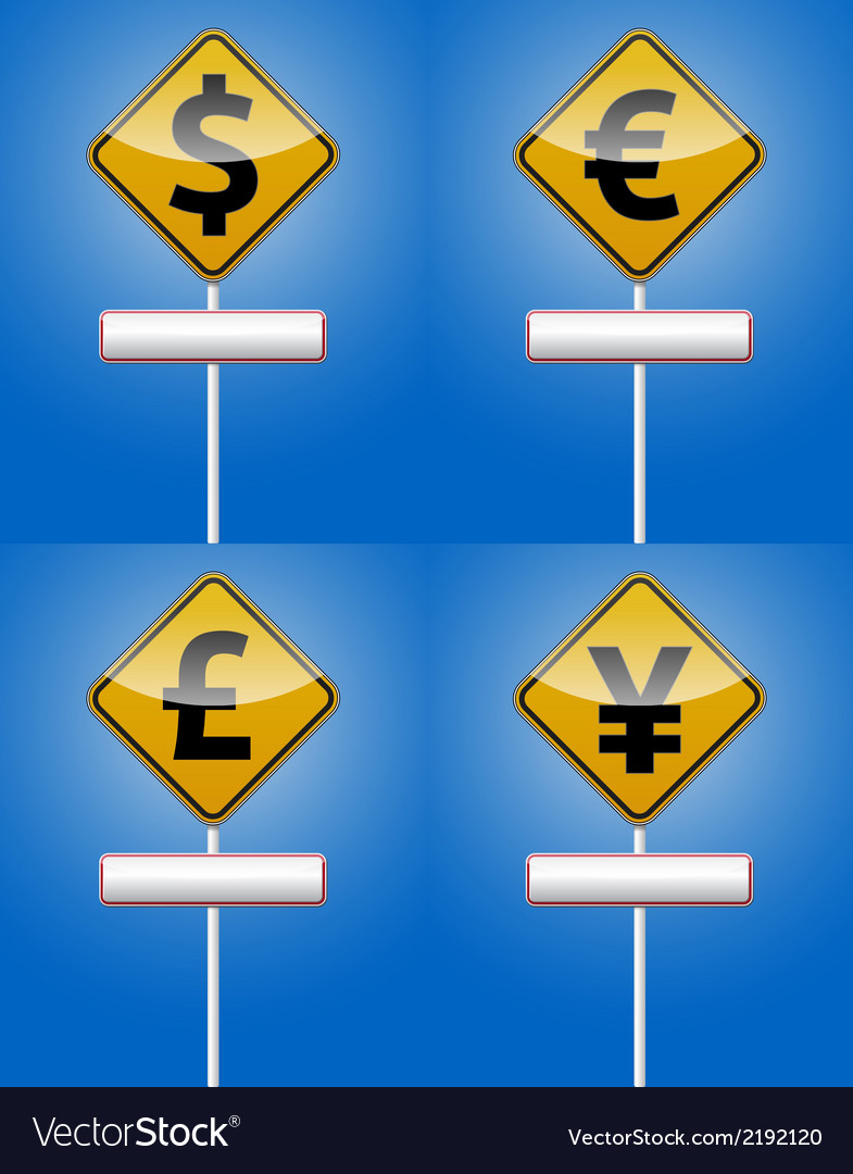 Dollar euro - money traffic board vector | Price: 1 Credit (USD $1)