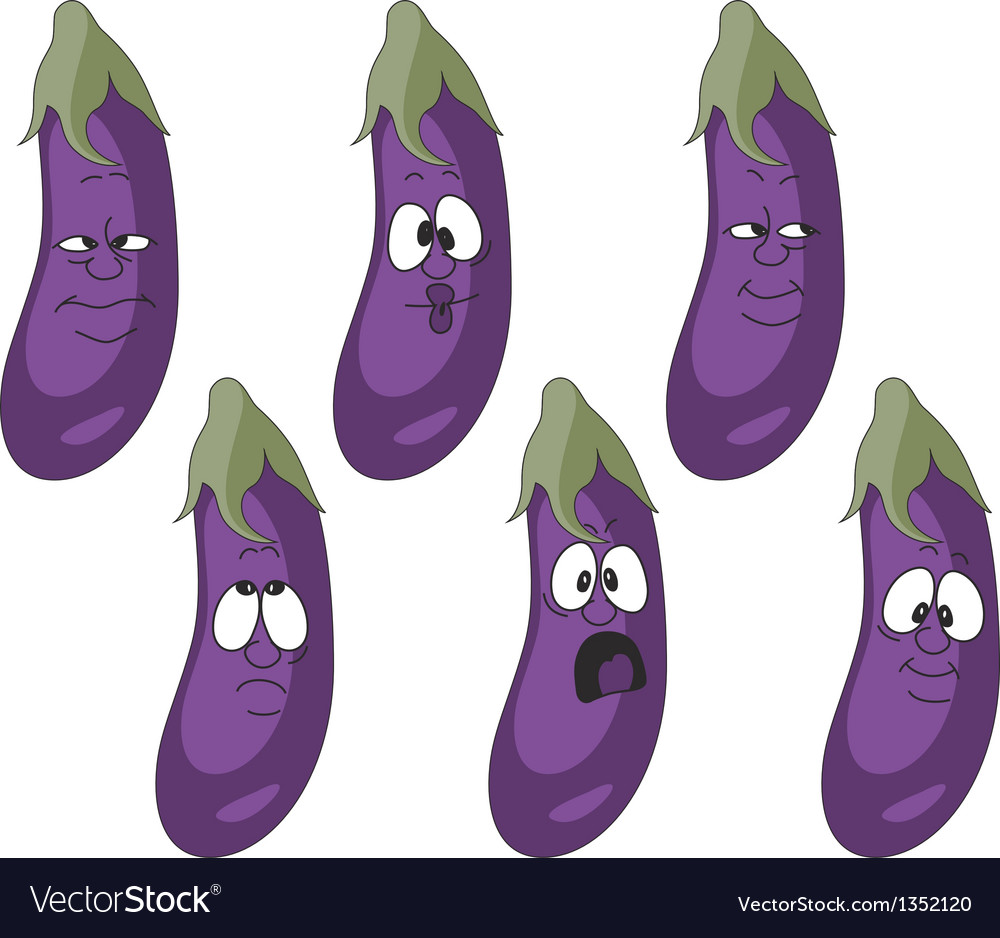 Emotion cartoon eggplant vegetables set 010 vector | Price: 1 Credit (USD $1)