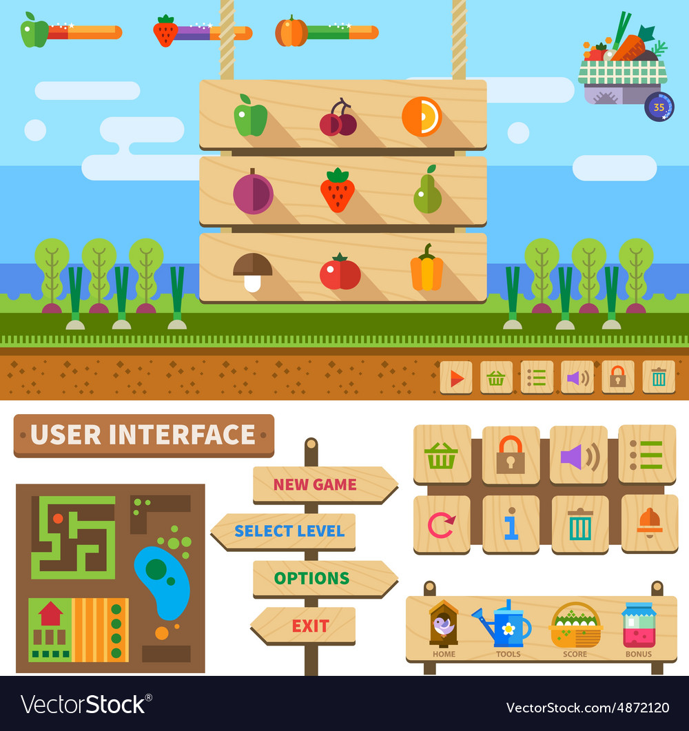 Farm in the village vector