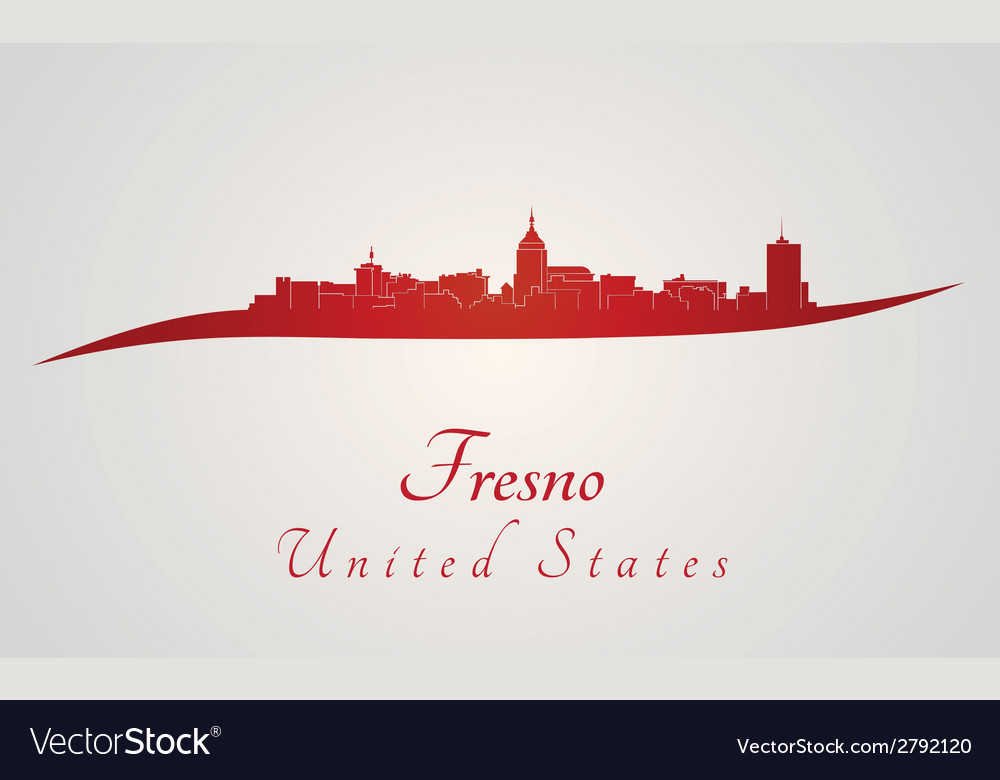Fresno skyline in red vector | Price: 1 Credit (USD $1)