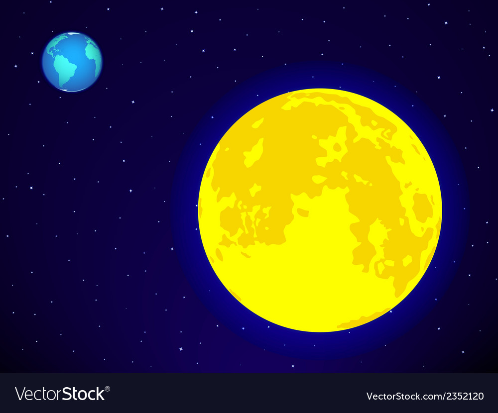 Moon and earth vector | Price: 1 Credit (USD $1)