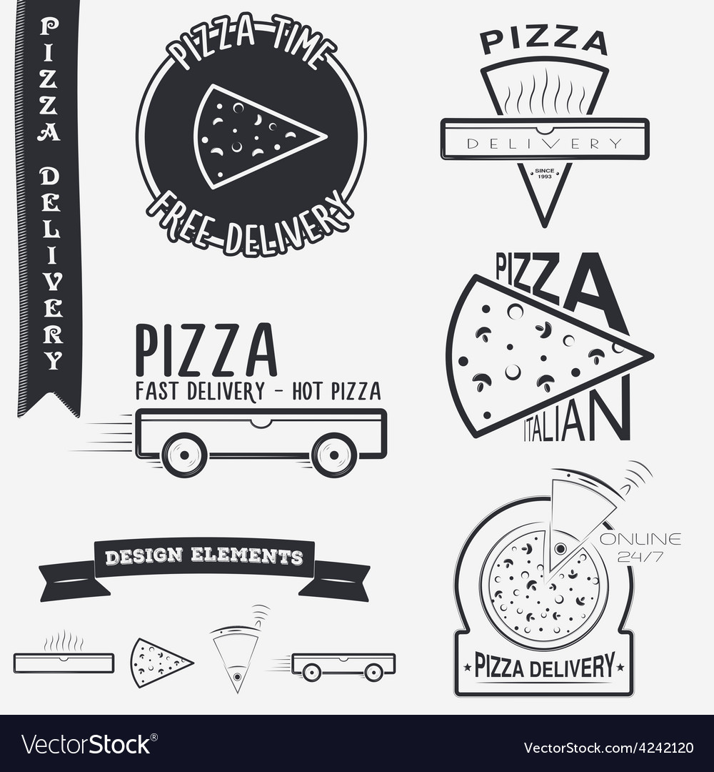 Pizza delivery the food and service set of vector | Price: 1 Credit (USD $1)