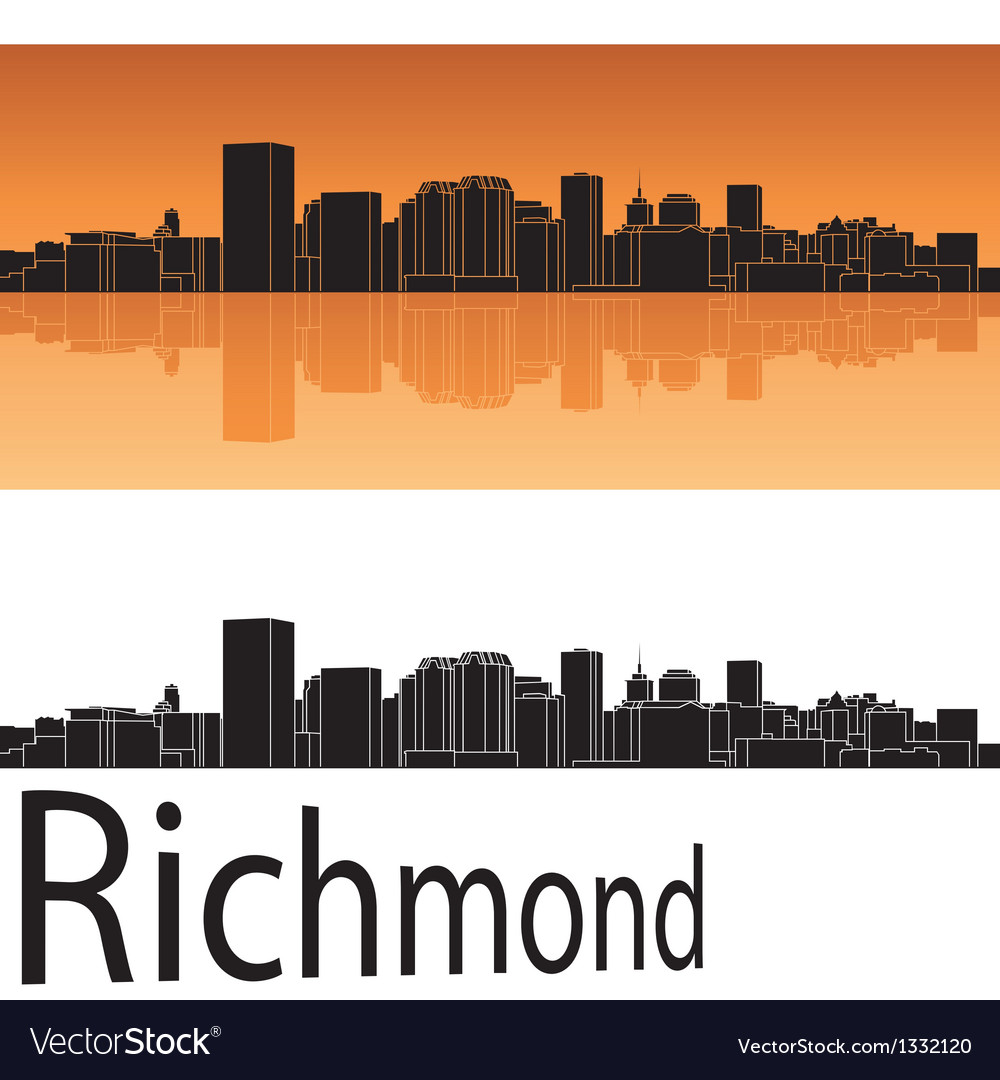 Richmond skyline in orange background vector | Price: 1 Credit (USD $1)