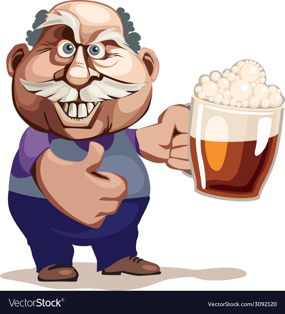 Senior man with beer vector | Price: 1 Credit (USD $1)