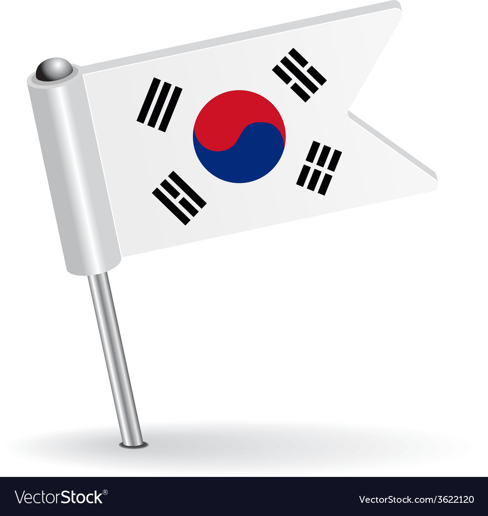 South korea pin icon flag vector | Price: 1 Credit (USD $1)