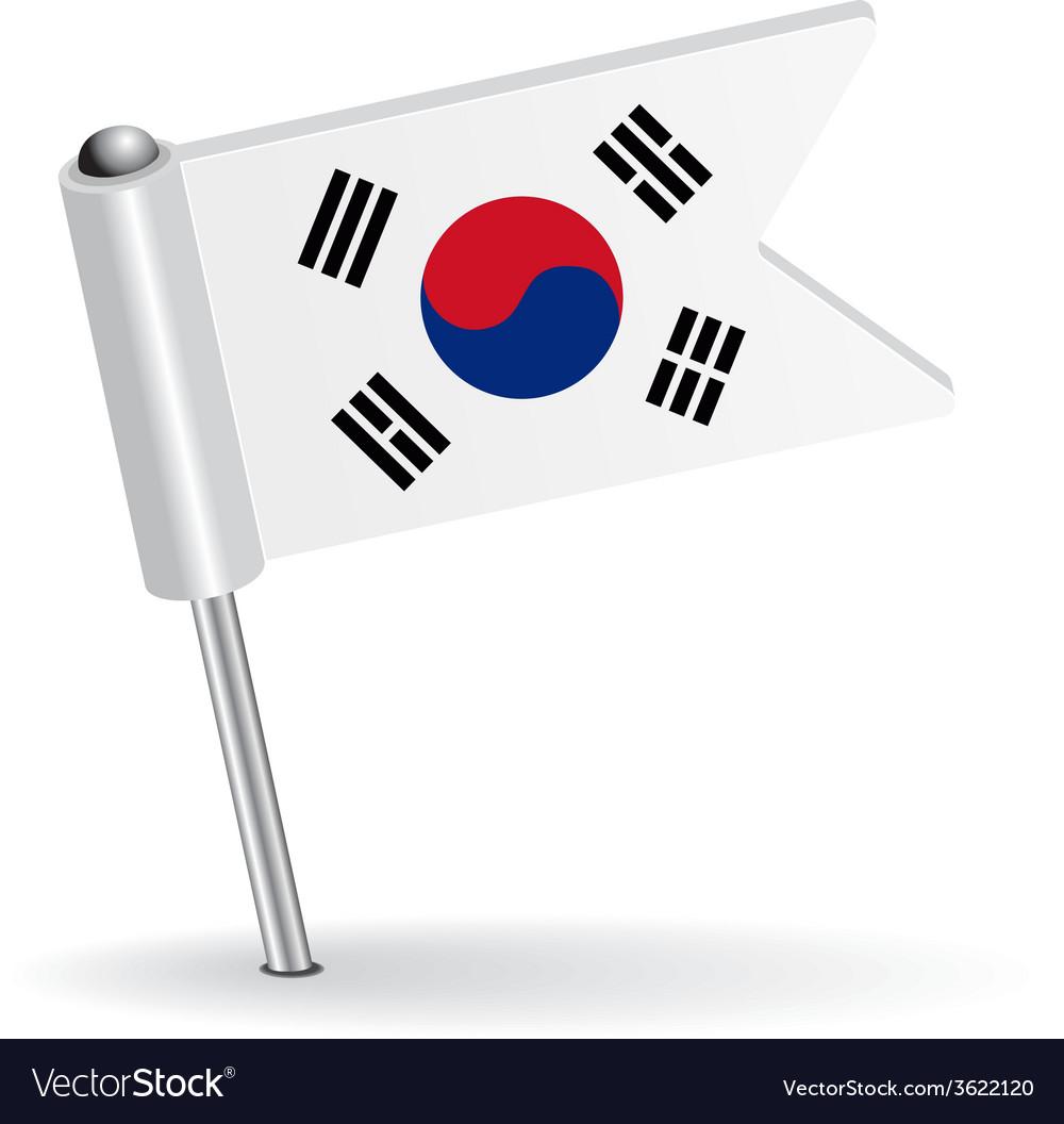 South korea pin icon flag vector | Price: 1 Credit (USD $1)