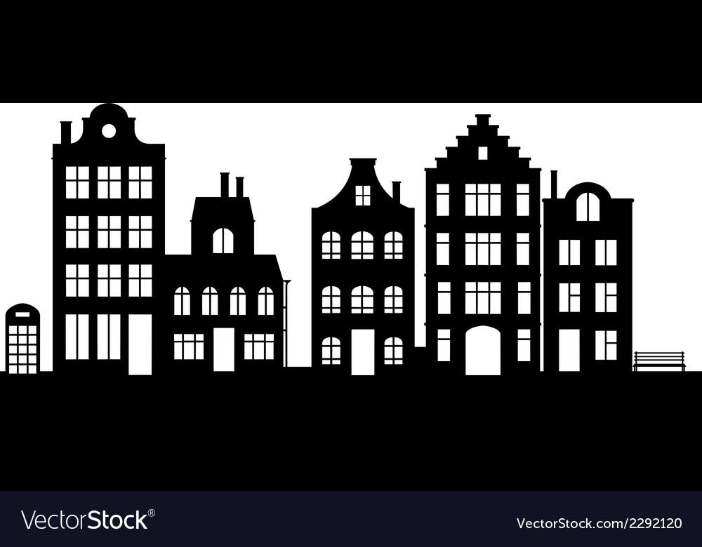 Vintage houses cityscape vector | Price: 1 Credit (USD $1)