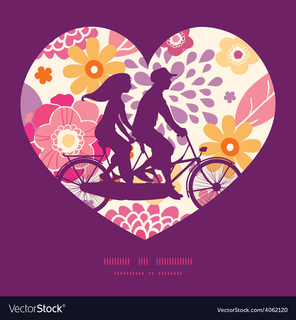 Warm summer plants couple on tandem bicycle vector | Price: 1 Credit (USD $1)