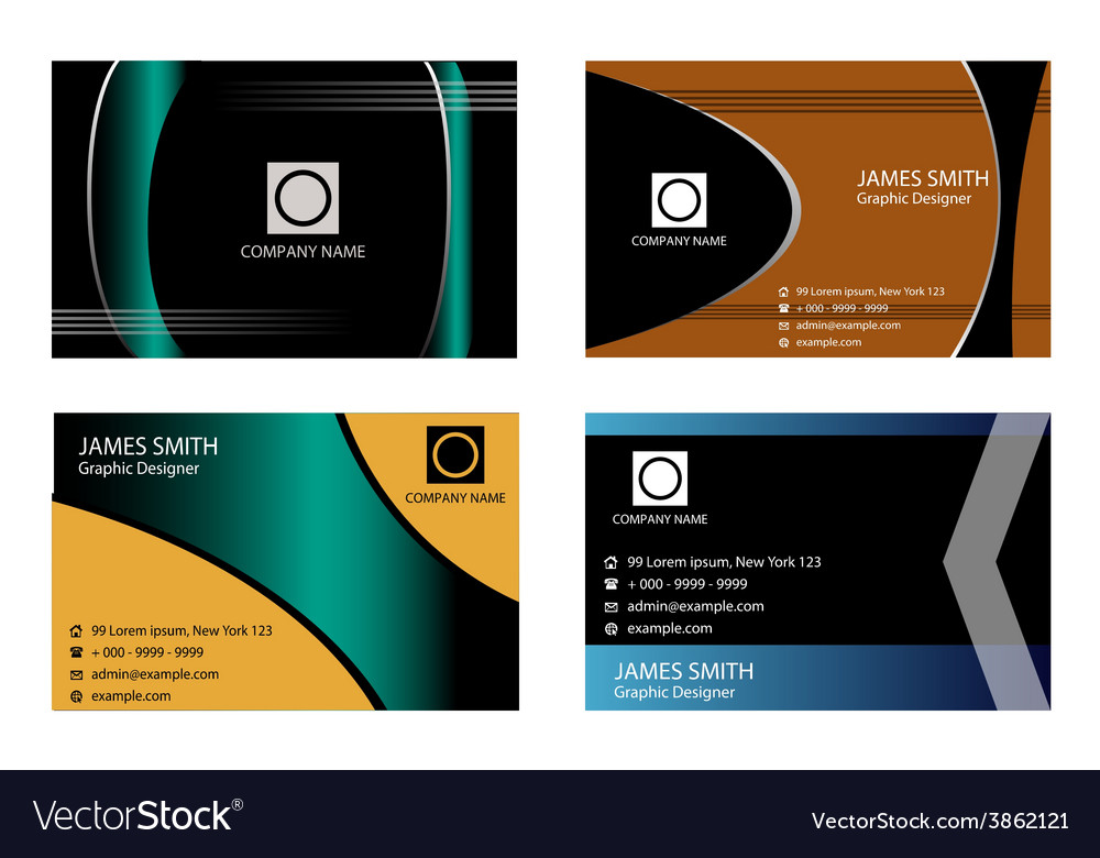 4 horizontal business cards vector | Price: 1 Credit (USD $1)