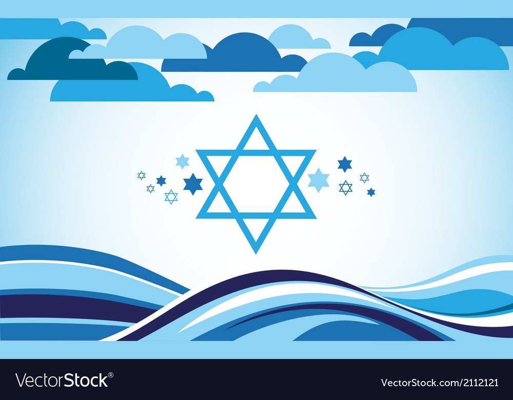 Abstract israel flag as sea and blue sky vector | Price: 1 Credit (USD $1)