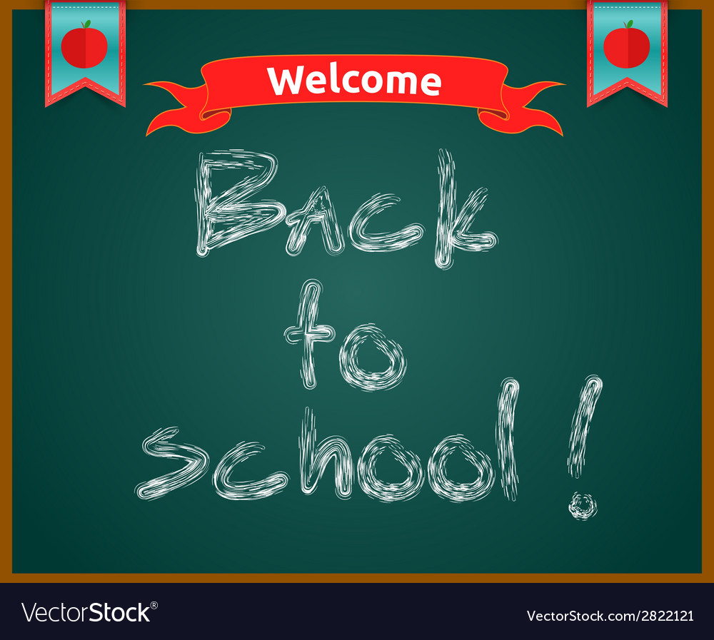 Back to school concept text on chalkboard vector | Price: 1 Credit (USD $1)
