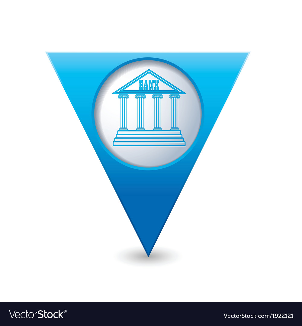 Bank icon pointer blue vector | Price: 1 Credit (USD $1)